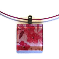 Flower Blossom Necklace Pendant in Pink - Glass Tile Square 1 inch