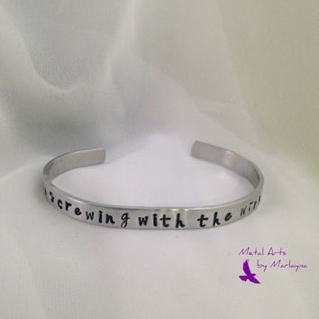 "SALE Hand Stamped Bracelet ""they're screwing with the wrong people"" Walking Dead Inspired Hand Stamped Cuff Hand Stamped Jewelry"