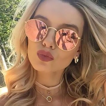 Round Sunglasses Women Classic Rose Gold Fashion Brand Designer Steampunk Sun Glasses Men UV400 Rayed Mirror Female Small