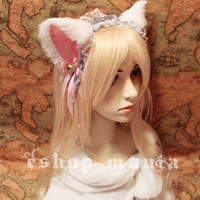 White pink CAT ears / kitty ears LOLITA maid Lace by eshopmania