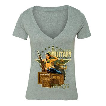 XtraFly Apparel Women's Military Support the Troops 2nd Amendment V-neck Short Sleeve T-shirt
