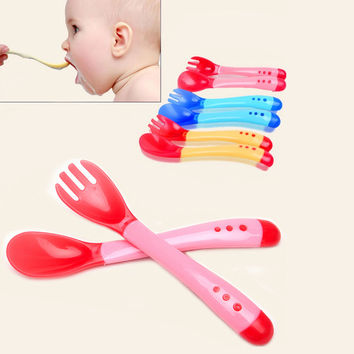 One Set Pretty Baby Boys Girls Spoon and Fork temperature soft silicone Tableware Feeding Dishes Cheap