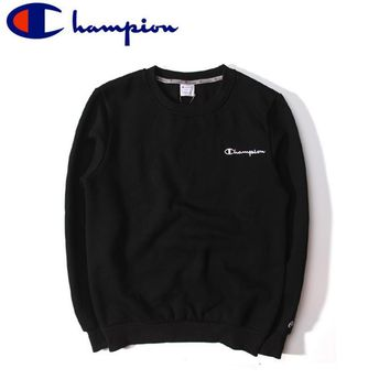 Champion autumn and winter cotton plus cashmere embroidery small street casual round neck sets of simple sweater Black