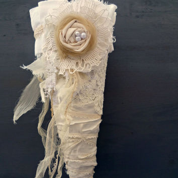 French Shabby Wedding Cone.Timeless Rustic Romance Decor.French Country Wedding.Provincial Farmhouse. Aisle Decoration.Petal Confetti Cone