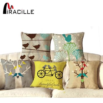 "NEW Cotton Linen Square 18"" Cute Birds and Tree Printed Decorative Sofa Throw Cushion Pillows Outdoor Home Decor Cojines"