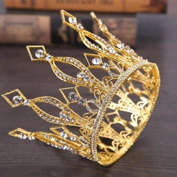 Gold Color Queen King Tiara Crown Baroque Retro Tiaras and Crowns Pageant Crown Princess Prom Hair Jewelry accessories