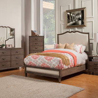 Alpine Charleston Queen Panel Bed with Upholstered Headboard & Footboard