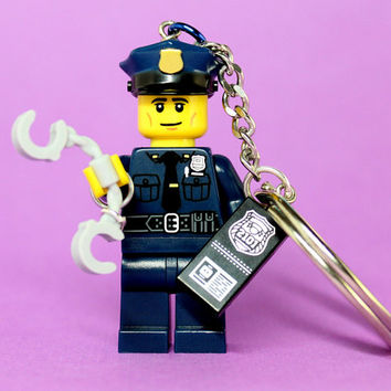 Policeman Keychain - made from Series 9 LEGO (r) Minifigure