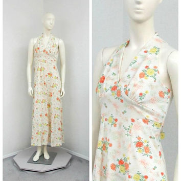 Vintage 70s Ecru Floral Maxi Dress, Halter Dress, Empire Waist Dress, A Line Dress, Sleeveless Summer Dress, Polyester Dress, Retro Dress