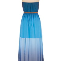 Ombre chiffon maxi dress with belt