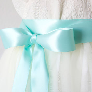 Satin Ribbon Bridal Sash - Aqua Blue, 1.5 Inches Wide