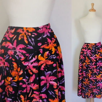 Vintage 80's Skirt / Drop Waist Maxi Skirt / Neon Palm Trees /Spring Summer Fall / 80s Fashion