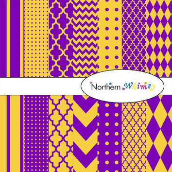 Purple & Gold Digital Paper Pack – scrapbooking paper in stripes, chevron, polka dot, harlequin, and quatrefoil – instant download – CU OK