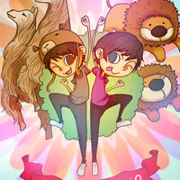 Dan and Phil Cartoon Poster