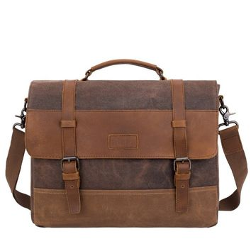 Leather & Waxed Canvas Briefcase/ Messenger Bag