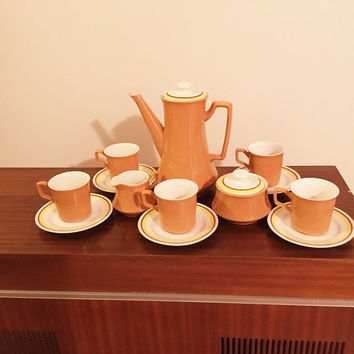 Vintage Retro 1960s Nikko Ironstone Foremost Tea Set Containing Unique Teapot, Sugar Bowl, Creamer and 5 Cups and Saucers / Made in Japan