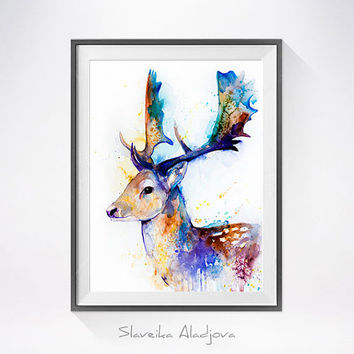 Fallow deer watercolor painting print, Deer art, animal art, animal watercolor, animals paintings, animal illustration, Deer  illustration