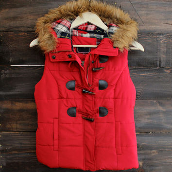 mountain slopes hooded red puffer vest