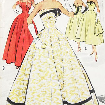 SZ 14/Bust 32 - Vintage 50s Dress Pattern - McCalls 9152 - Misses' Evening Dress in Two Lengths with Bolero