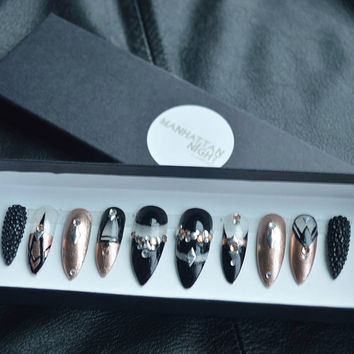Upper East Side (Rose Gold & Black) Press on nail set | nail art | gift | woman | jewelry | nail polish | make up | hand made | custom