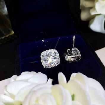 1 ct/ 2 ct/ 3 ct Cushion Halo Earrings, 3 Colors Man Made Diamond ( Clear/ Yellow/ Pink ), Bridal Jewelry, Bridesmaid Gift, Anniversary Gift