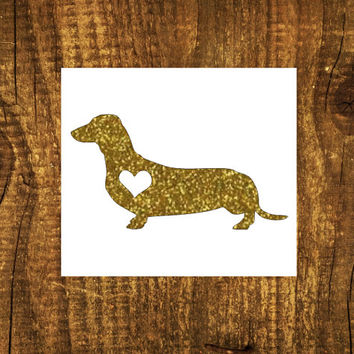 GLITTER Dachshund Heart Decal | Dachshund Mom Decal | Dog Mom Decal | Dog Dad Decal | Dog Family Decal | Love Sticker | Love Decal  | 198