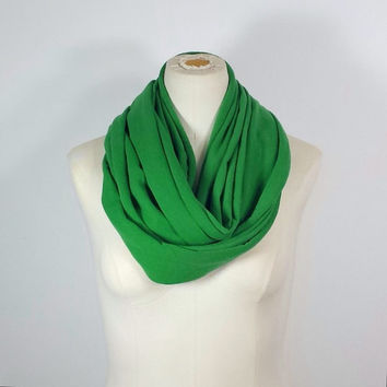 St. Patrick's Day Infinity Scarf - Grass Green Infinity Scarf - Green Eternity Scarf - Warm Clover Green Emerald - St. Pattys Day