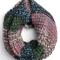 Junior Women's BP. Marled Stripe Knit Infinity Scarf - Blue