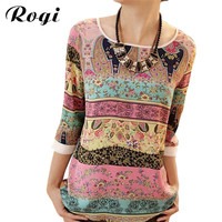 Women Chiffon Blouses Shirts 2017 Summer Boho Print Ladies Tops Casual O-Neck Blouse Female Roupa Blusas Camisas Mujer 2XL