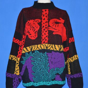 80s Custom Designs Zoo Animal Knit Sweater Extra Large