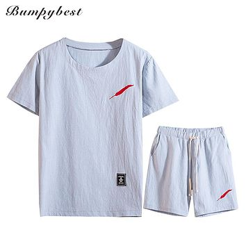 Cotton Linen Men Sets Red Feather Embroidery Male Summer Short Sleeve men's sportswear
