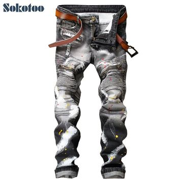 Sokotoo Men's casual painted print biker jeans for moto Fashion pleated gray denim pants Long trousers