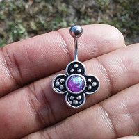 14 gauge stainless steel clover purple opal  belly button ring, navel ring, body jewelry
