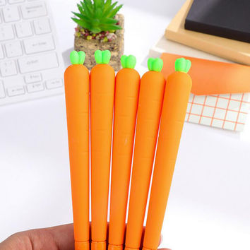 X33 Cute Kawaii Lifelike Silicone Carrot Gel Pen Writing Signing Pen School Office Supply Student Stationery Kids Gift