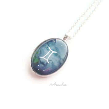 Gemini pendant, zodiac jewelry, watercolour handpainted zodiac sign, with sterling silver plated chain