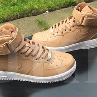 Tan Nike Air Force1 mid customs. Unisex.