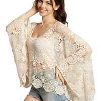 Lookbookstore Women Vintage Oversize Beige Batwing Floral Cut Out Lace Crochet Cape Top Shirt US 2