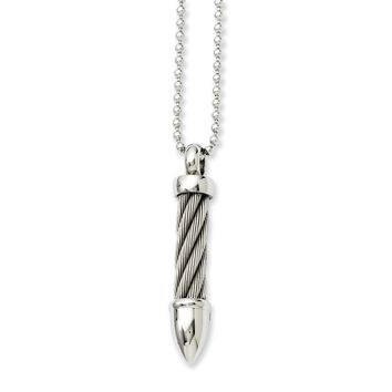 Stainless Steel Twisted Wire Bullet 24in Necklace