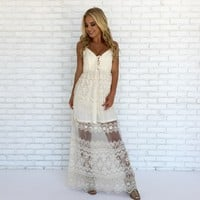 Jagged Little Edge Embroider Maxi Dress