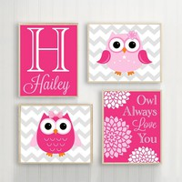 Girl OWL Wall Art, Owl Baby Girl Nursery, Owl Always Love You, Girl Quote Bedroom Wall Decor, Owl Theme Decor, CANVAS or Print Set of 4