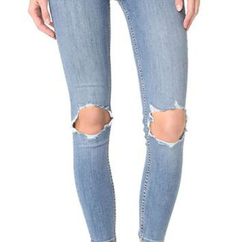 Free People High Rise Busted Skinny Jeans Light Blue Wash
