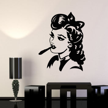 Vinyl Wall Decal Pin Up Style Sexy Girl Smoke Head Cigarette Stickers Unique Gift (955ig)