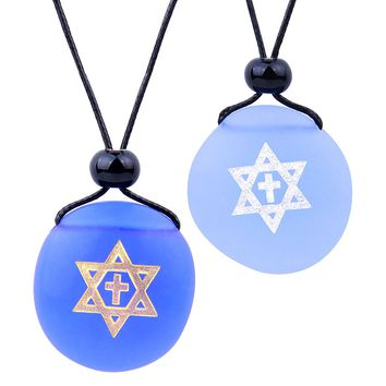 Frosted Sea Glass Stones Star of David and Cross Love Couples BFF Set Amulets Sky Royal Blue Necklaces