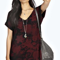 Abbie V Neck Rose Print T-Shirt