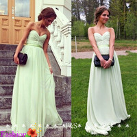 Long Mint Chiffon Dress, A-line Sweetheart Strapless Mint Bridesmaid Dress Sexy, Simple Cheap Mint Prom Dress, Sexy Mint Party Dress