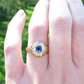 Antique Diamond Sapphire Halo Ring, Fiery Mine Cut Diamonds, Cushion Cut Blue Sapphire, 18K Gold, English Hallmarks, Beautiful