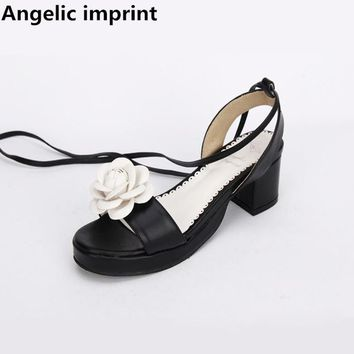 Angelic imprint woman mori girl lolita shoes lady mid heels pumps sandal women princess summer dress sandals flowers lace up 47