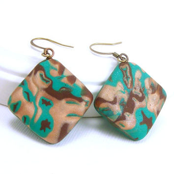 Geometric Emerald Green Dangle Earrings / Polymer Clay Jewelry