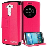 LG G3 Case, CoverBot LG G3 Slim Flip Case with Stand HOT PINK. Folio Flip Cover with Quick Smart Circle Window Support for LG G3