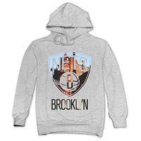 TIKE Men's Brooklyn Nets City Height Hooded Sweatshirt Color Ash Size XXL
